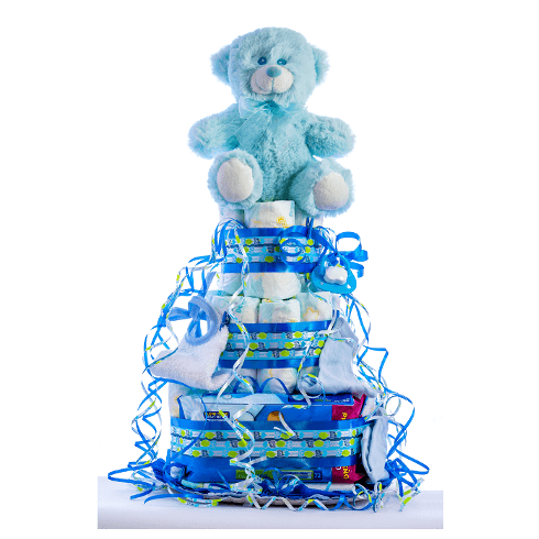 TARTA MEDIANA CELESTE 1024x1024 3 - Tarta de pañales DODOT Mediana para bebé recién nacido