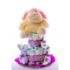 Tarta 2.0 lila   perro rosa 1024x1024 1 300x300 - Tarta de pañales DODOT para bebé recién nacido.