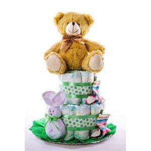 Tarta 2.0 verde   oso oscuro 1024x1024 1 300x300 - Tarta de pañales DODOT para bebé recién nacido.